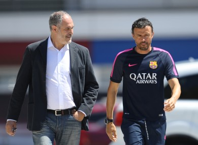 Barcelona's coach Luis Enrique, right, and Sports director Andoni Zubizarreta.