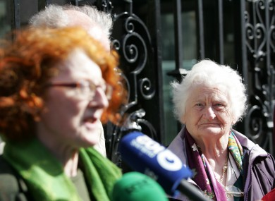 Symphysiotomy survivor Rita McCann, right, and SoS chairperson Marie O'Connor, left.