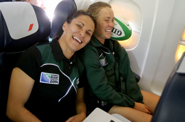 Tania Rosser and Ashleigh Baxter on the flight to Paris this morning 27/7/2014