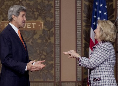 Kerry and Clinton speak. Quietly.