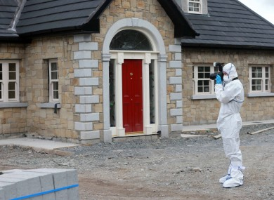 A garda at the scene of the shooting in Saggart.