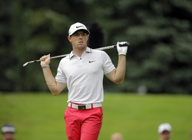 Rory McIlroy watches his tee shot on the seventh hole during the third round of the Bridgestone Invitational.