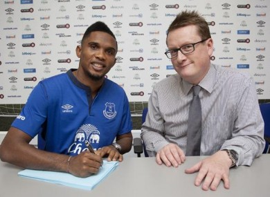Eto'o signs on the dotted line.