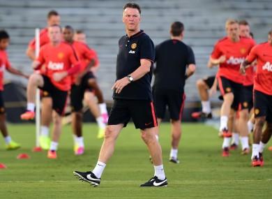 Manchester United coach Louis van Gaal in training.