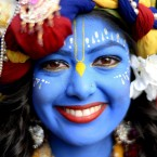 Laxmipriya Patel, 21, from Watford dressed as Lord Krishna at the Bhaktivedanta Manor Hare Krishna Temple in Watford during the Janmashtami Festival.<span class=