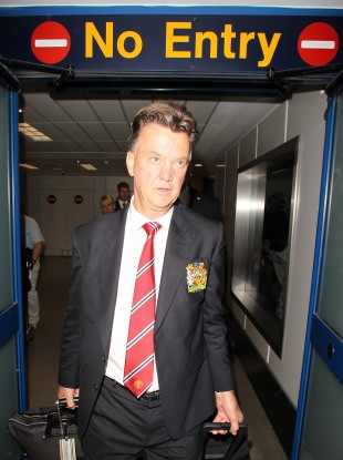 Louis van Gaal arriving back in Manchester after a successful American tour.