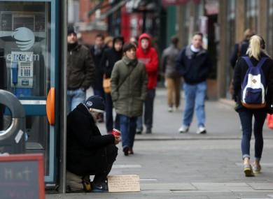 Begging in Dublin city centre (File photo)