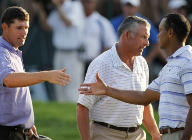 Harrington and Woods during the second round of the 2009 PGA Championship.