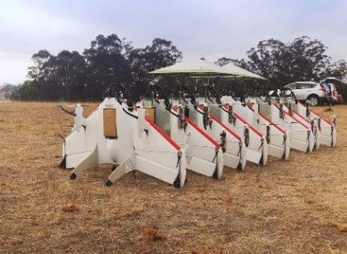 The autonomous drones lined up and ready for take-off.