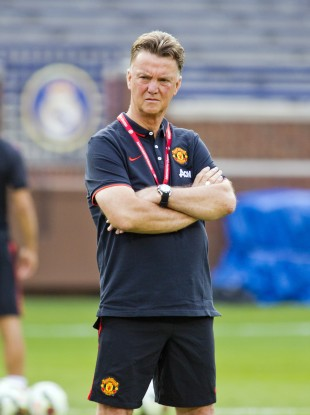 Manchester United manager Louis van Gaal watches his team during a training session.
