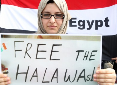 A protester outside the Egyptian Embassy in Dublin last year.
