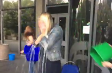 Sharon Ní Bheoláin films ice bucket challenge for Nine O'Clock News