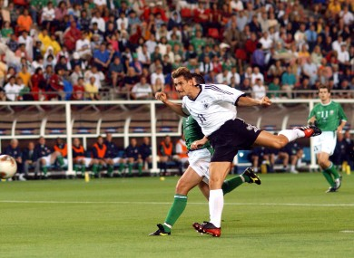 Klose scores against Ireland at the 2002 World Cup.