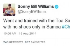 Who's robbed Sonny Bill Williams' shoes? It's the sporting tweets of the week