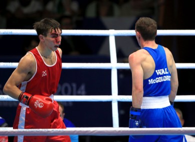 Michael Conlan suffers a cut during his match against Wales' Sean McGoldrick in the Men's Boxing Bantam (56kg) semi-final.