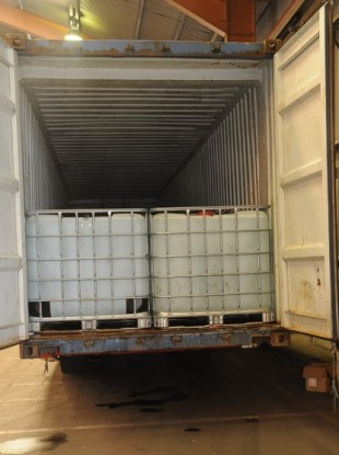Inside the shipping container