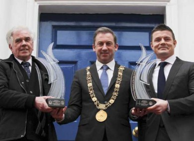 Brian O Driscoll and Fr Peter McVerry with the former Lord Mayor, Oisin Quinn, receiving the Freedom of Dublin last year.