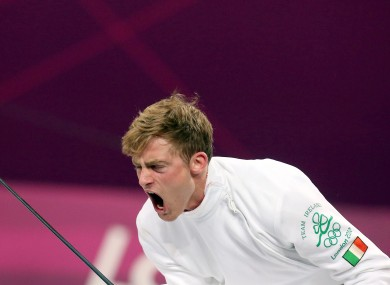O'Keefe celebrates a victory in fencing at the London Olympics.
