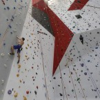 A man climbs a vertical wall at the 'Bleau' indoor climbing gym, in Ghent, western Belgium.<span class=
