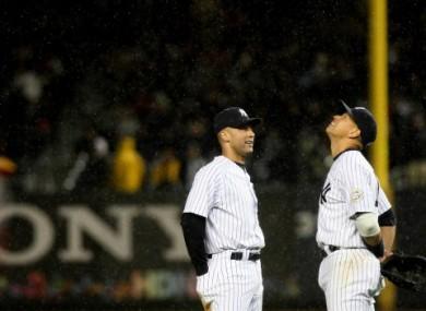 Rain cheque? Derek Jeter and Alex Rodriguez.