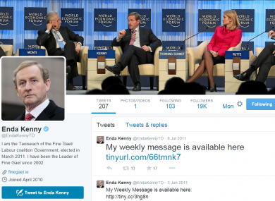 Enda Kenny's inactive Twitter account