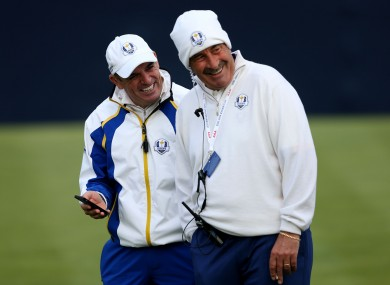 Paul McGinley with Sam Torrance during Saturday's play.