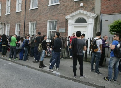 Students from the Millennium College arrive at the college on Dominick Street Dublin, to find that it has closed.