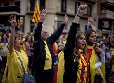 People form a human chain for the independence of Catalonia during the Catalonia's national day.