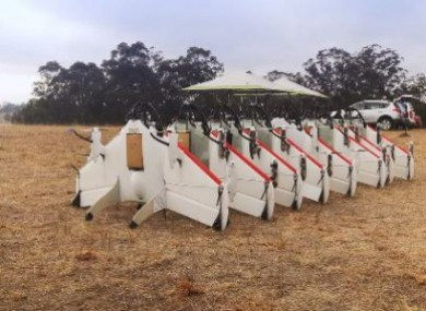 The drones Google used for Project Wing, which uses drones to deliver items and goods to people in rural areas.