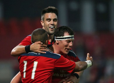 Simon Zebo, Conor Murray and Robin Copeland celebrate a try last weekend.