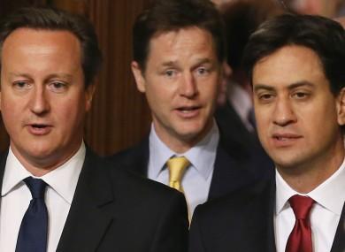 Prime Minister David Cameron (left), Deputy Prime Minister Nick Clegg (centre).