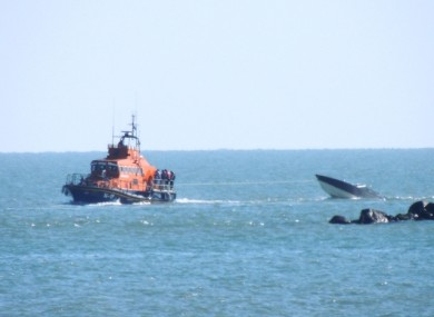 Arklow RNLI at the scene of the sinking vessel.