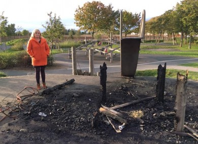 Councillor Noeleen Reilly at what remains of the playground.