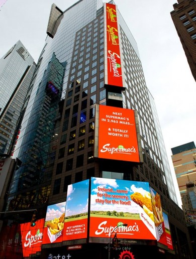 Supermacs really do have giant billboards in Times Square