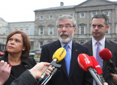 Sinn Féin's Mary Lou McDonald, Gerry Adams and Pearse Doherty