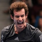 Andy Murray of Britain celebrates a point during the final match against David Ferrer from Spain at the Erste Bank Open tennis tournament in Vienna, Austria.<span class=