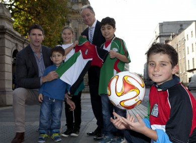 Brian Kerr helps launch Gaza Kids to Ireland this morning.