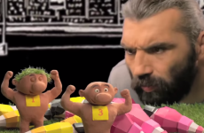 Sebastian Chabal has fun with mála to explain what props do in the scrum