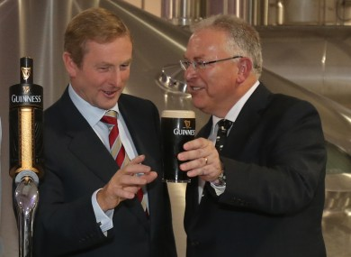 Taoiseach Enda Kenny goes for a Guinness at the opening of its new brewhouse in Dublin