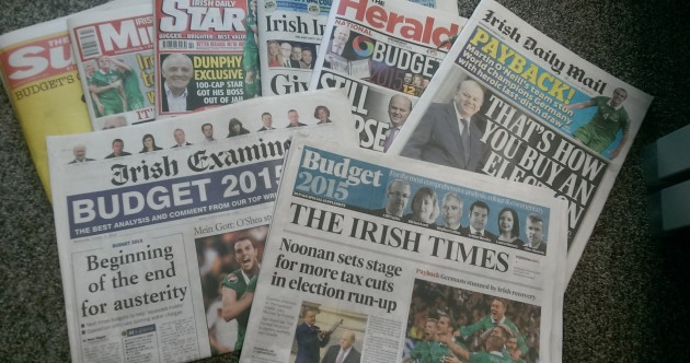 """Payback, buying an election and """"Be Happy"""" – how the papers saw Budget 2015"""