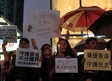 Malaysian activists show solidarity with pro-democracy protests in Hong Kong yesterday