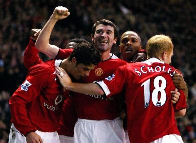 Happier times: midfield partners Keane and Scholes.