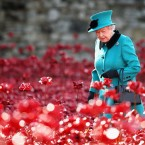Queen Elizabeth II visits the Tower of London's Blood Swept Lands and Seas of Red installation. The unique memorial was created by ceramic artist Paul Cummins and by Armistice Day on November 11 there will be 888,246 ceramic poppies planted, one for each British and Colonial death during the conflict which began 100 years ago. <span class=