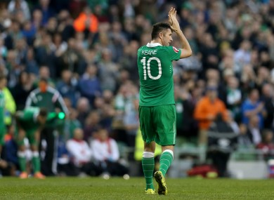 Ireland's Robbie Keane applauds the crowd as he is substituted against Gibraltar.