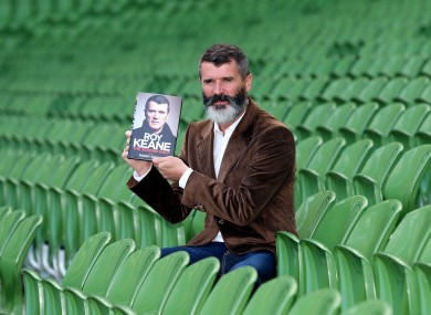 Keane pictured with his new book at Lansdowne Road earlier.