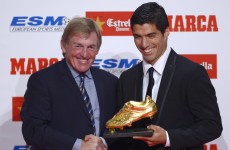 Kenny Dalglish travels to Barcelona to present Suarez with European Golden Shoe