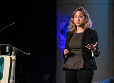 Ayah Bdeir of littleBits speaking at the Web Summit.