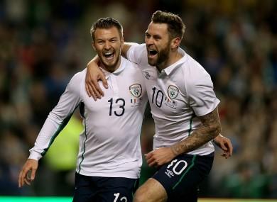 Anthony Pilkington and Daryl Murphy celebrate Ireland's opening goal against America.