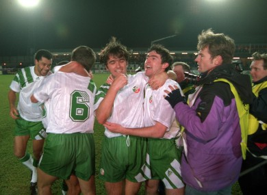 Eddie McGoldrick celebrates with Alan McLoughlin at the end of the match against Northern Ireland.