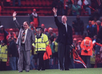 Jack Charlton and Maurice Setters pictured during the 1995 Ireland-Holland clash.